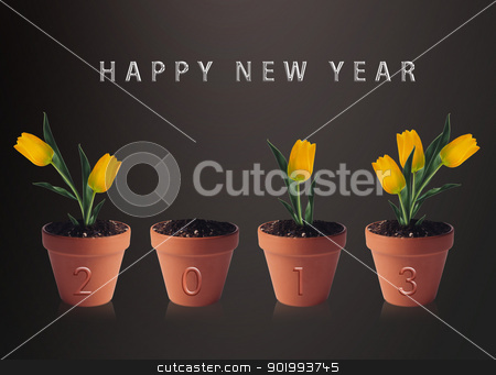 Happy new year 2013 stock photo, Happy new year 2013, conceptual image pots with yellow tulip flowers making 2013 year numbers. by Designsstock