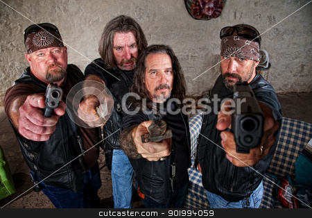 Biker Gang With Weapons stock photo, Group of four bikers in leather jackets brandishing weapons by Scott Griessel