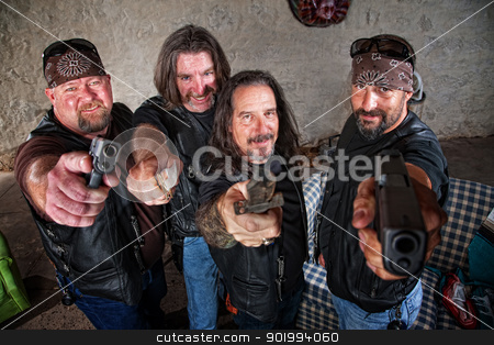 Smiling Gang Members with Weapons stock photo, Smiling group of Caucasian bikers in leather jackets with weapons by Scott Griessel