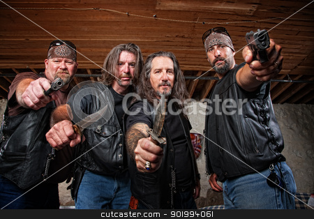 Four Mean Gang Members in Leather Jackets stock photo, Four tough middle aged white gang members with weapons by Scott Griessel