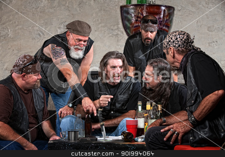 Bikers Talking at Table stock photo, Biker gang members talking and drinking with weapons by Scott Griessel