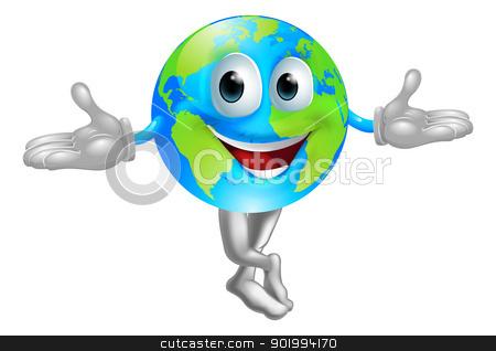 Globe world mascot man stock vector clipart, A cute cartoon illustration of a globe world mascot man by Christos Georghiou