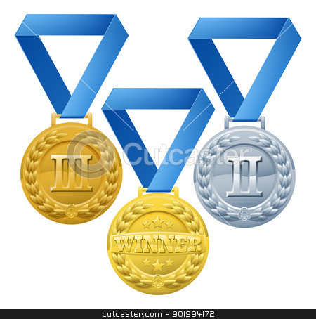 Medals Illustration stock vector clipart, Illustration of three medals on blue ribbons. Bronze silver and gold winners awards by Christos Georghiou