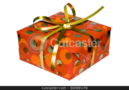 gift box with golden ribbon stock photo, An isolated gift box with very nice present by Alexey Popov