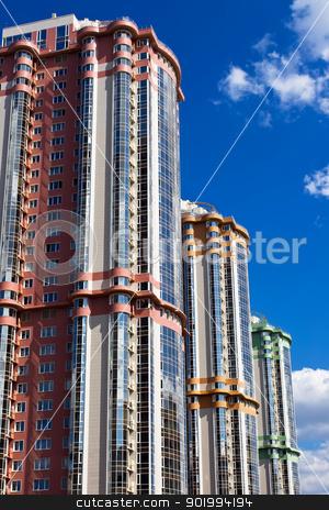 Buildings stock photo, Modern apartment buildings under blue sky by Alexey Popov