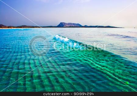 Wave in the sea stock photo, Green Tyrrhenian Sea near la Cinta beach, Sardinia, Italy by Alexey Popov