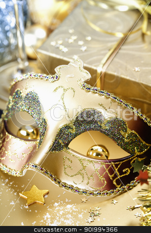 Christmas composition stock photo, Carnival mask and Christmas decorations by klenova