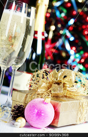 Christmas decoration stock photo, Christmas decoration on Christmas tree background by klenova
