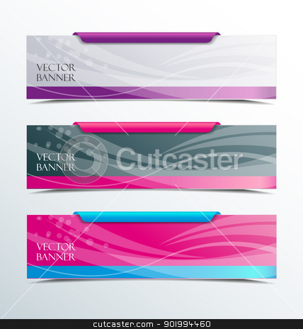 banners stock vector clipart, Set of colorful horizontal banners on a light background  by Miroslava Hlavacova