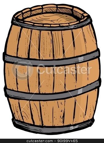 Old wooden barrel stock vector clipart, Old wooden barrel on the white background by Oleksandr Kovalenko
