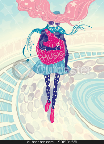 Music. stock photo, Music. Raster illustration. The young beautiful girl walks on a city in the spring, she listens to favourite music in earphones and dreams.  by Natalia Konstantinova