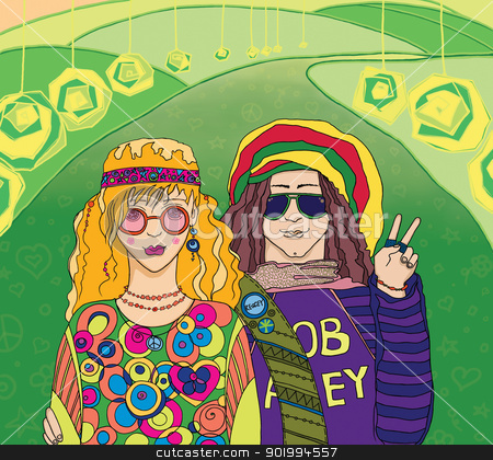 Two Young Hippies. stock photo, Two Young Hippies. Raster illustration. by Natalia Konstantinova