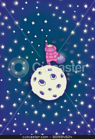 To get to stars stock photo, To get to stars. The small space little man, the cosmonaut. Raster illustration.  by Natalia Konstantinova