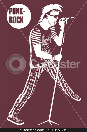 Rock musician.  stock photo, Rock musician. The rock musician, sings in a microphone at a concert. Raster illustration.  by Natalia Konstantinova