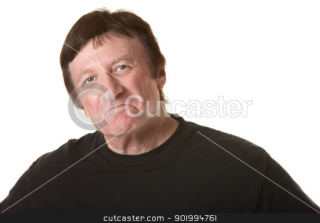 Pouting Mature Man stock photo, Proud mature Caucasian man over white background by Scott Griessel