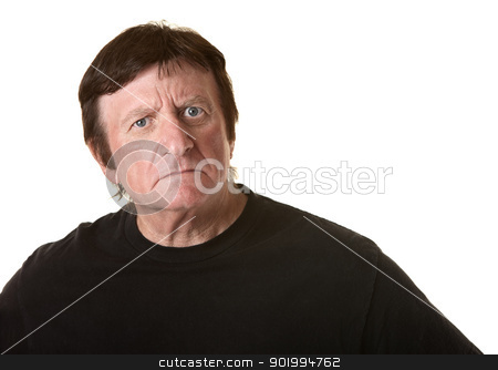 Suspicious Mature Man stock photo, Suspicious mature Caucasian man over white background by Scott Griessel