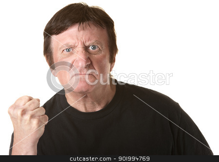 Angry Mature Man stock photo, Angry mature Caucasian man with clenched fist over white background by Scott Griessel
