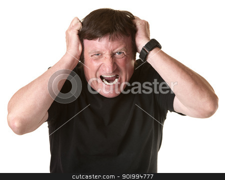 Frustrated Mature Man stock photo, Mature Caucasian man screams in frustration over white background by Scott Griessel