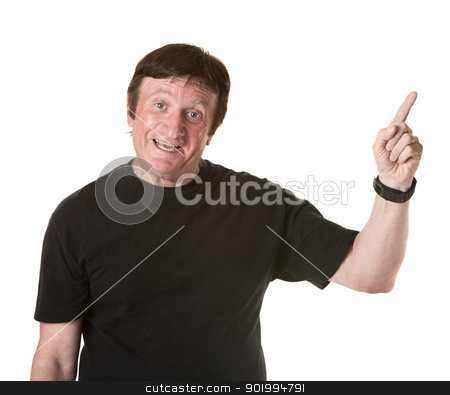 Happy Man Points Finger stock photo, Mature man over white background points index finger upward  by Scott Griessel