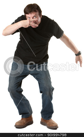 Man Gestures Victory Sign stock photo, Mature man gestures victory sign over white background by Scott Griessel
