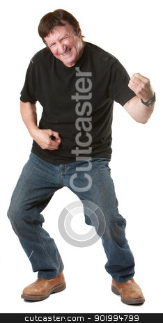 Man Plays a Guitar stock photo, Energetic mature Caucasian man gestures to play guitar  by Scott Griessel