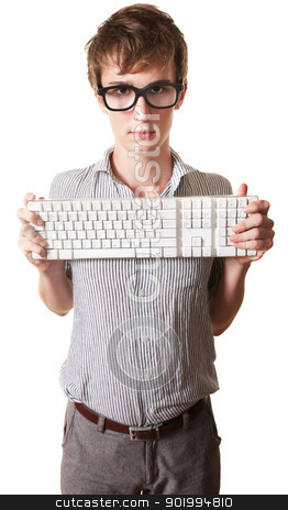 Teen Holds Computer Keyboard stock photo, Young Caucasian man holds computer keyword over white background by Scott Griessel