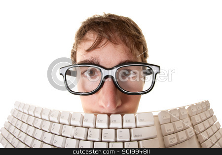 Man Behind Keyboard stock photo, Young Caucasian man hides behind a computer keyboard over white background by Scott Griessel