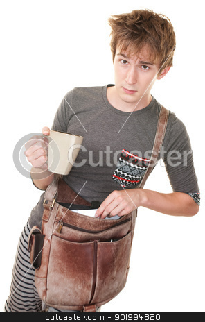 Young Messenger stock photo, Teen with messenger bag and mug over white background by Scott Griessel