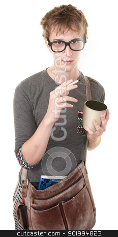 Young Man Smoking stock photo, Youth with messenger bag, coffee and cigarette by Scott Griessel