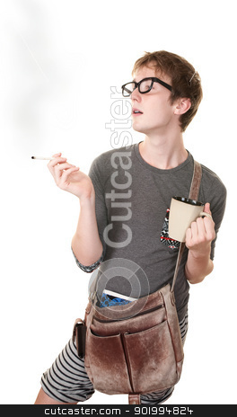 Teen Smoking Cigarette stock photo, Teen with messenger bag and mug smokes a cigarette by Scott Griessel