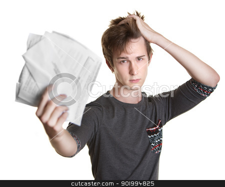 Student with Bills stock photo, Unhappy young Caucasian man holds documents over white background by Scott Griessel