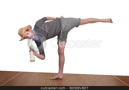 Man Smokes While Exercising stock photo, Young man smokes while exercising over white background by Scott Griessel