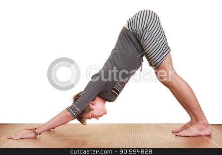Teen Doing Yogasana stock photo, Young Caucasian man in Adho Mukha Svanasana Yoga posture over white background by Scott Griessel