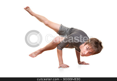 Young Man Does Yogasana stock photo, Young man in Koundinyasana posture over white background by Scott Griessel