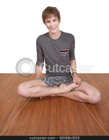 Smiling Teen Exercises stock photo, Smiling Caucasian teen exercises over white background by Scott Griessel