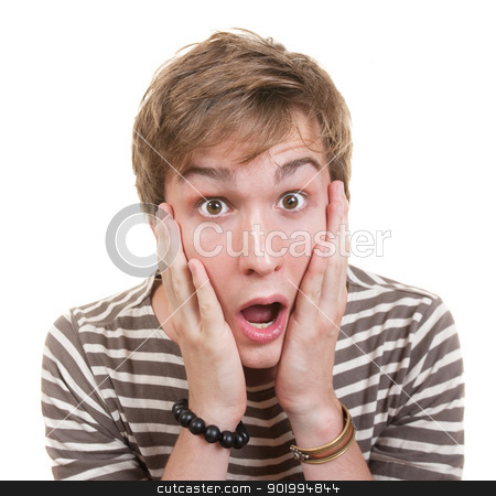 Surprised Teen stock photo, Surprised young Caucasian man with raised eyebrows and open mouth by Scott Griessel