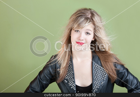 Messy Hair stock photo, Young Caucasian woman with wind-blown hair by Scott Griessel