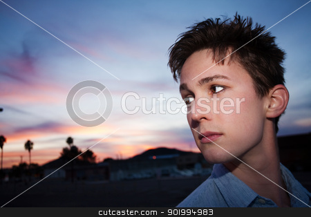 Serious Young Man stock photo, Serious young man looks over his shoulder by Scott Griessel