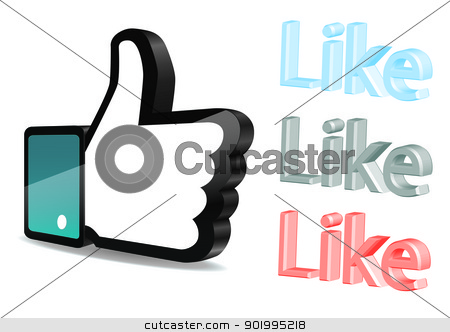thumb up vector on white background stock vector clipart, thumb up vector on white background by manaemedia