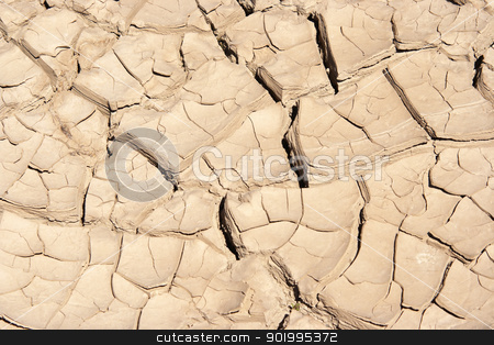 dried and cracked ground stock photo, Detail of the cracked ground - dry season  by Siloto