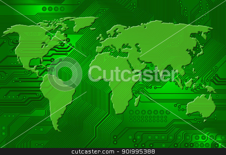 international internet connectivity stock photo, Abstract image - technology abstract - global communication - international internet connectivity by Siloto