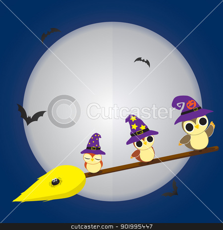 Halloween Owls stock vector clipart, Vector illustration of cartoon owls during Halloween by William Robson