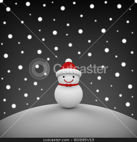 Snowman among snowing stock photo, 3D model rendering of snowman by mrdoggs