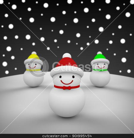Snowmen among snowing stock photo, 3D model rendering of snowmen by mrdoggs