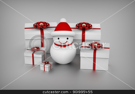 Snowman and gift boxes  stock photo, 3D model rendering of snowman and gift boxes by mrdoggs