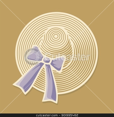 Female summer hat stock vector clipart, Woman's wide brimmed summer hat with lilac bow ribbon on beige background. by fractal.gr