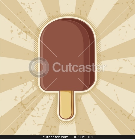 Chocolate ice cream stick stock vector clipart, Chocolate ice cream stick icon on beige grunge background. by fractal.gr