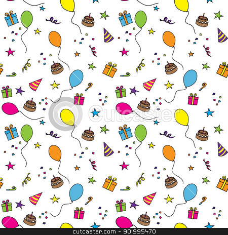 Birthday party stock vector clipart, Seamless party pattern composed of colorful balloons, stars, cakes, and presents by nahhan
