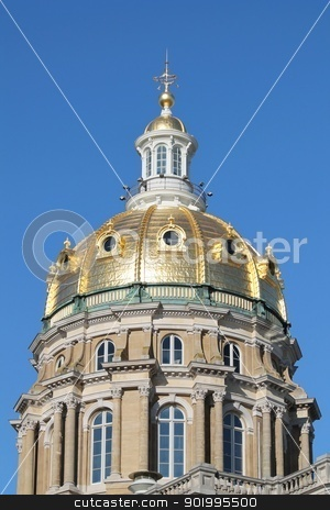 Iowa State Capitol Dome stock photo, Gold plated dome of the Iowa State Capitol Building by Dustin Ausdemore