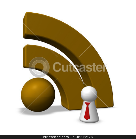 rss symbol stock photo, play figure with tie and rss symbol - 3d illustration by J?